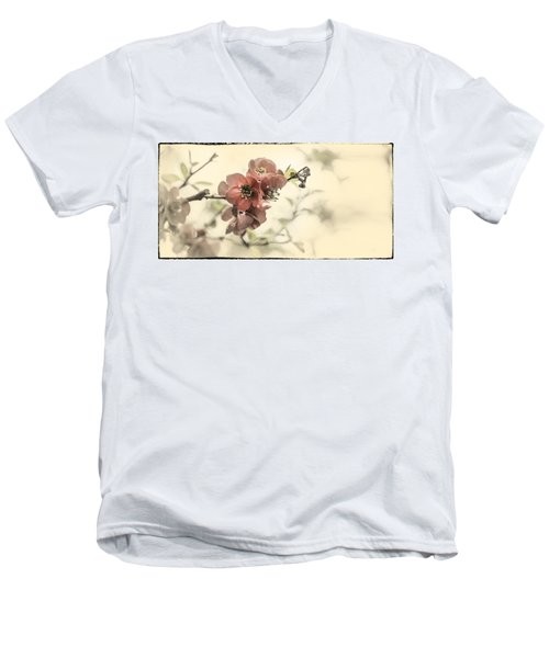 Men's V-Neck T-Shirt featuring the photograph Cherry Blossoms by Peter v Quenter