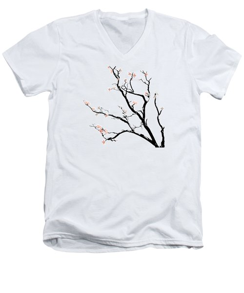Cherry Blossoms Tree Men's V-Neck T-Shirt