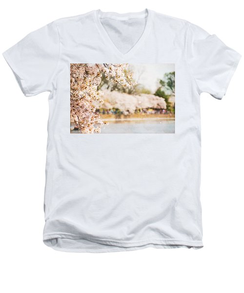 Men's V-Neck T-Shirt featuring the photograph Cherry Blossoms In Washington Dc by Vizual Studio