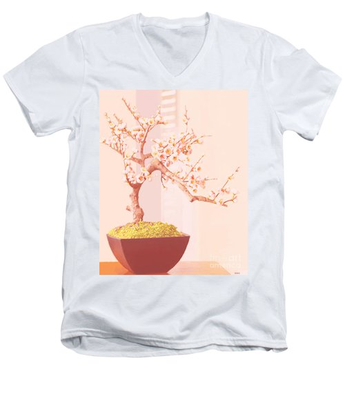 Men's V-Neck T-Shirt featuring the painting Cherry Bonsai Tree by Marian Cates