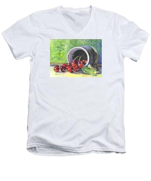 Cherry Pickins Men's V-Neck T-Shirt by Carol Wisniewski