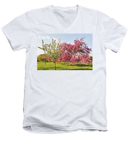 Men's V-Neck T-Shirt featuring the photograph Cherry Trees And Washington Monument Three by Mitchell R Grosky