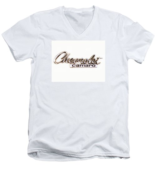 Chevrolet Camaro Emblem Men's V-Neck T-Shirt by Jerry Fornarotto