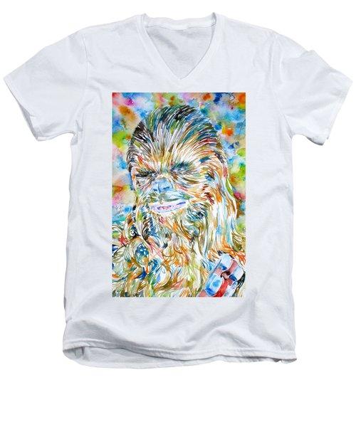 Chewbacca Watercolor Portrait Men's V-Neck T-Shirt by Fabrizio Cassetta