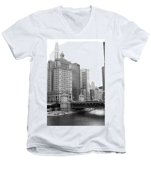 Men's V-Neck T-Shirt featuring the photograph Chicago Downtown 2 by Bruce Bley