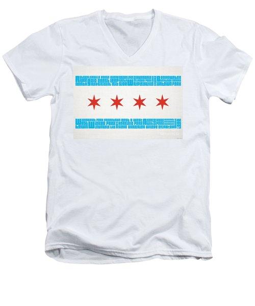 Chicago Flag Neighborhoods Men's V-Neck T-Shirt by Mike Maher