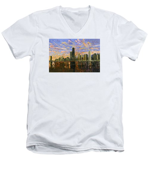 Chicago Men's V-Neck T-Shirt by Mike Rabe
