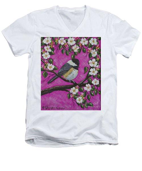Chickadee In Apple Blossoms Men's V-Neck T-Shirt