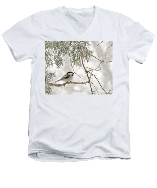Men's V-Neck T-Shirt featuring the photograph Chickadee In Snowstorm by Paula Guttilla