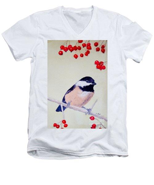Chickadee Men's V-Neck T-Shirt by Laurel Best