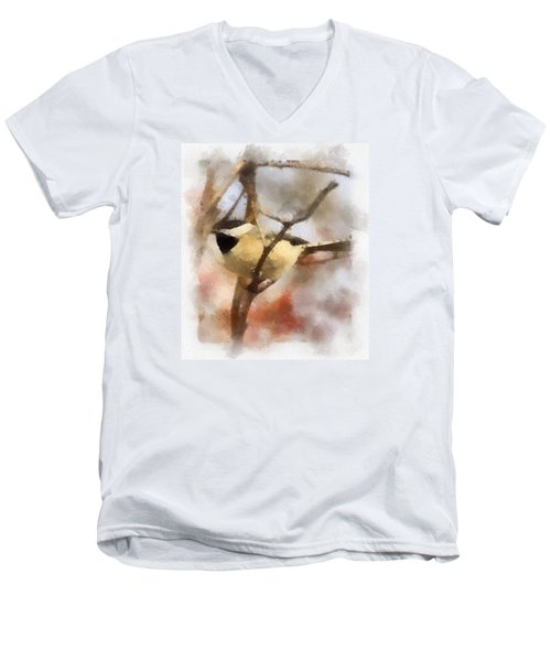 Men's V-Neck T-Shirt featuring the painting Chickadee Watercolor by Kerri Farley