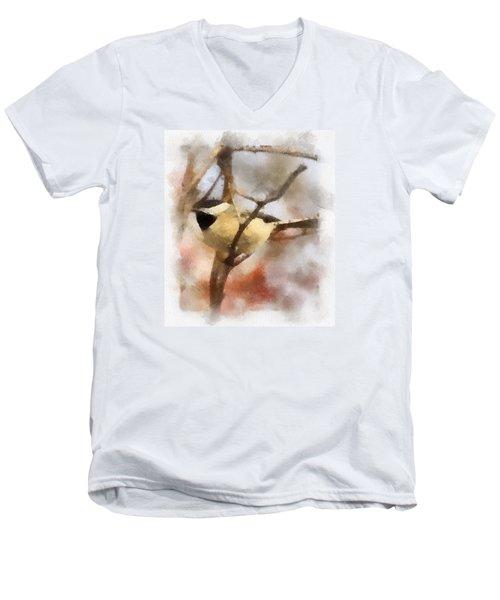 Chickadee Watercolor Men's V-Neck T-Shirt by Kerri Farley