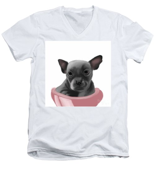 Chihauhau In A Bowl Men's V-Neck T-Shirt
