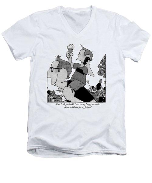 Child On Father's Shoulders Men's V-Neck T-Shirt