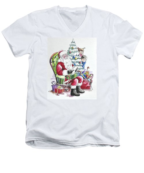 Childre Sneaking Around Santa Men's V-Neck T-Shirt