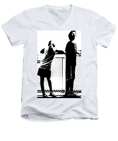 Men's V-Neck T-Shirt featuring the photograph Children On Governors Island Ferry Ride by Lilliana Mendez