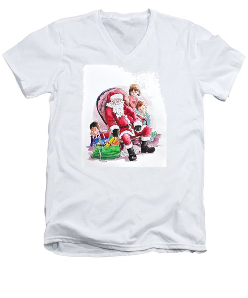 Children Patiently Waiting Up For Santa. Men's V-Neck T-Shirt
