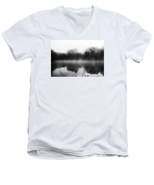 Men's V-Neck T-Shirt featuring the photograph Chilly Morning Reflections by Miguel Winterpacht