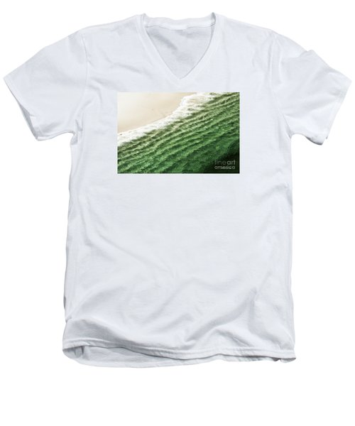 China Beach Wave Ocean Theme Pillow Print Tote Men's V-Neck T-Shirt by Artist and Photographer Laura Wrede