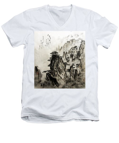 Men's V-Neck T-Shirt featuring the painting Chinese Mountains With Poem In Ink Brush Calligraphy Of Love Poem by Peter v Quenter