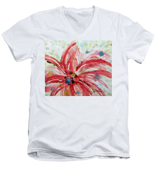 Men's V-Neck T-Shirt featuring the painting Chinese Red Flower by Joan Reese