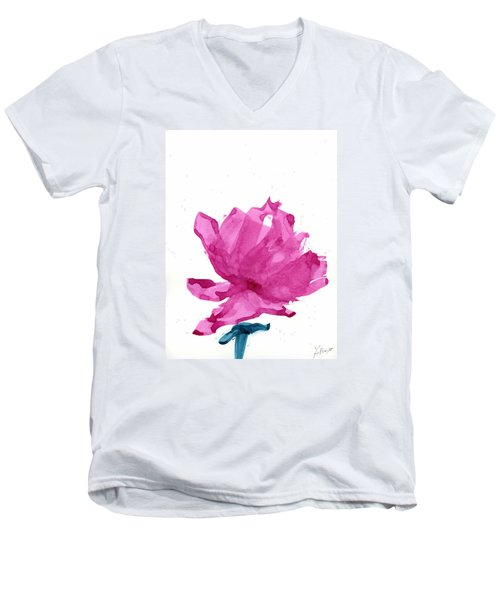Men's V-Neck T-Shirt featuring the painting Chinese Rose Hibiscus by Frank Bright