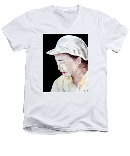 Chinese Woman With A Facial Mole Men's V-Neck T-Shirt by Jim Fitzpatrick