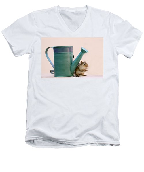 Chipmunk And Watering Can Men's V-Neck T-Shirt by Peggy Collins