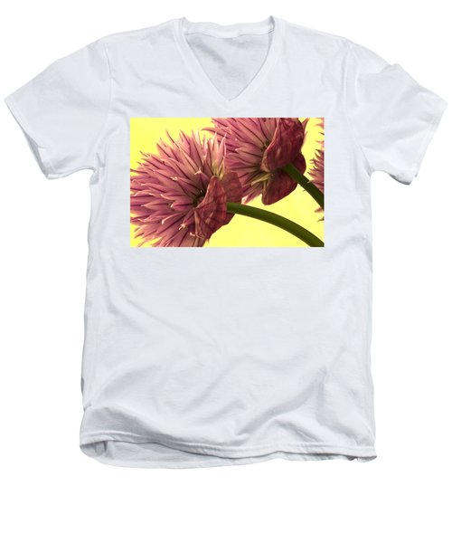 Chive Macro Beauty Men's V-Neck T-Shirt by Sandra Foster
