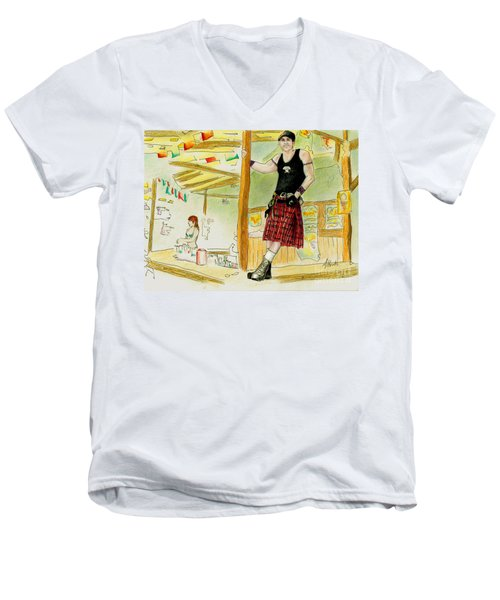 Men's V-Neck T-Shirt featuring the painting Chris At The Broken Spoke Saloon by Albert Puskaric