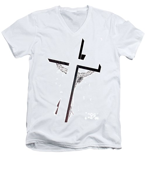 Men's V-Neck T-Shirt featuring the drawing Christ On Cross by Justin Moore
