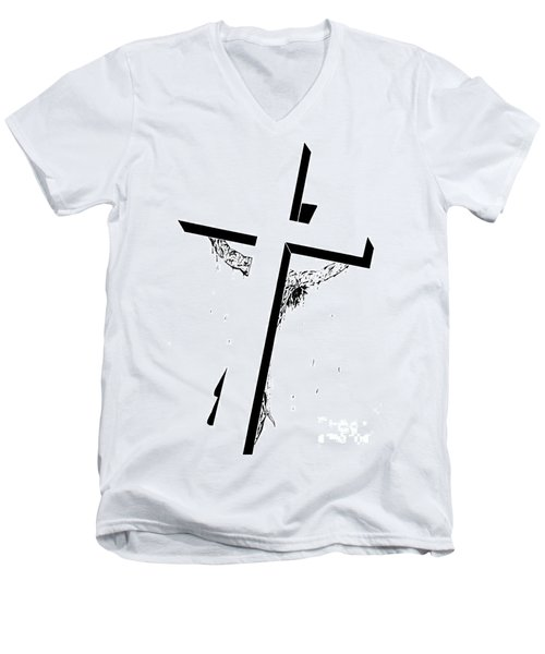 Men's V-Neck T-Shirt featuring the drawing Christ On The Cross by Justin Moore