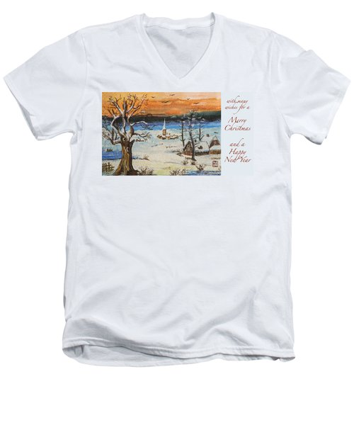 Christmas Card Painting Men's V-Neck T-Shirt
