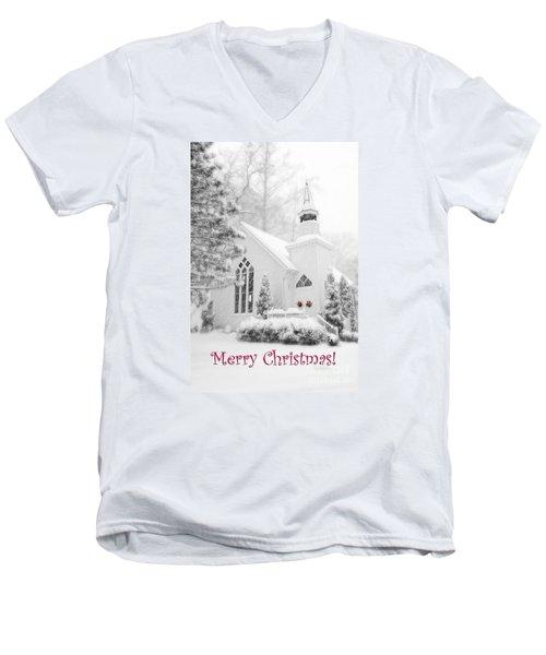 Historic Church Oella Maryland - Christmas Card Men's V-Neck T-Shirt by Vizual Studio