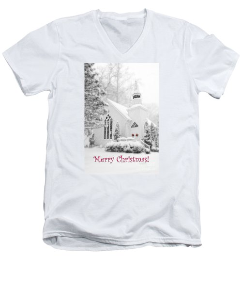 Historic Church Oella Maryland - Christmas Card Men's V-Neck T-Shirt