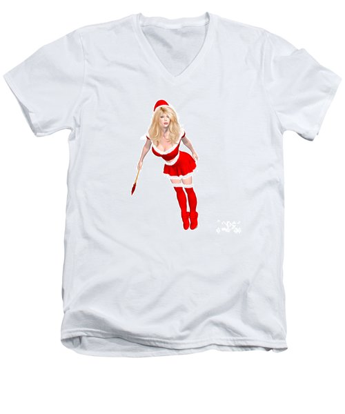 Christmas Elf Elise Men's V-Neck T-Shirt by Renate Janssen