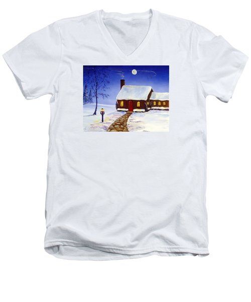 Men's V-Neck T-Shirt featuring the painting Christmas Eve by Lee Piper