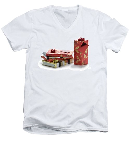 Men's V-Neck T-Shirt featuring the photograph Christmas Gifts by Lee Avison