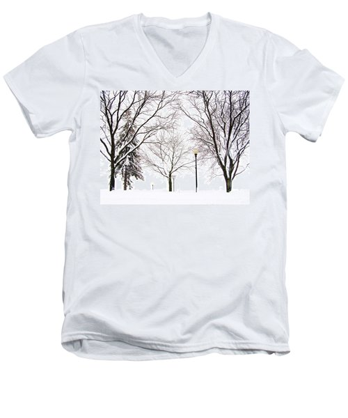 Men's V-Neck T-Shirt featuring the photograph Christmas In Skaneateles by Margie Amberge