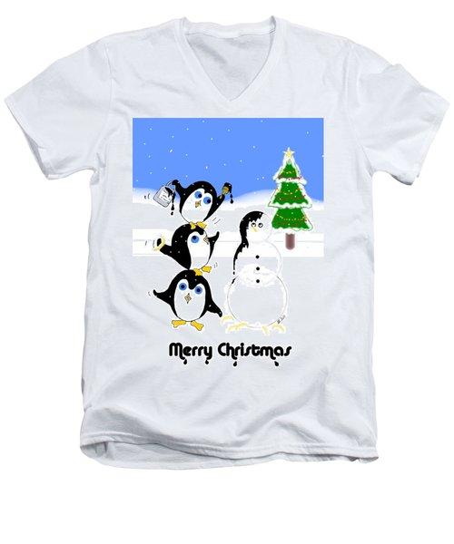 Men's V-Neck T-Shirt featuring the digital art Christmas Penguins by Stephanie Grant