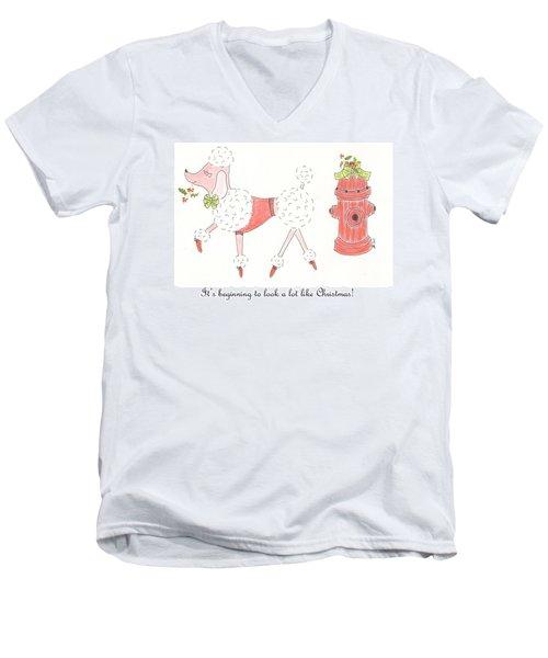 Christmas Poodle Men's V-Neck T-Shirt