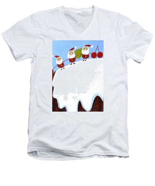 Men's V-Neck T-Shirt featuring the painting Christmas Pudding And Santas by Magdalena Frohnsdorff