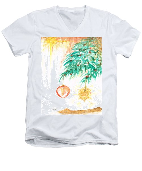Men's V-Neck T-Shirt featuring the painting Christmas Star by Teresa White