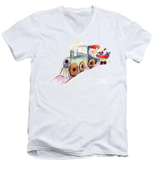 Christmas Train With Santa Claus Men's V-Neck T-Shirt