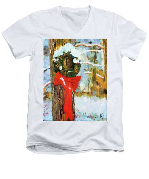 Men's V-Neck T-Shirt featuring the painting Christmas Wreath by Michael Daniels