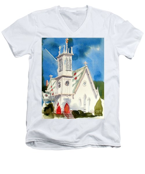 Church With Jet Contrail Men's V-Neck T-Shirt