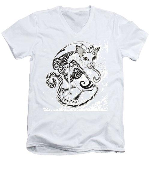 Circle Cat Men's V-Neck T-Shirt by Melinda Dare Benfield