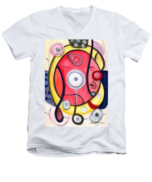 Men's V-Neck T-Shirt featuring the painting Circle For Lovers by Stephen Lucas