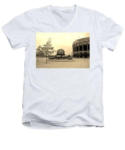 Citi Field In Sepia Men's V-Neck T-Shirt