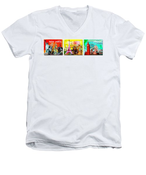 Cities Men's V-Neck T-Shirt